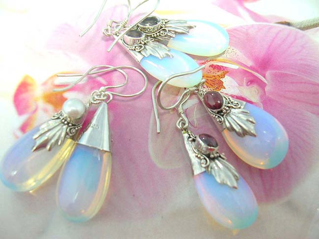 Import wholesaler distributes bali made Unique opalescent gemstone earrings with 925. sterling silver frame with decorative design and trendy crystal