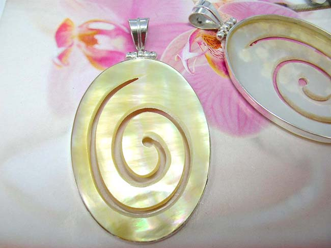 Fantasy jewelry importer wholesales Abalone seashell gemstone pendant with spiral design and 925. sterling silver frame