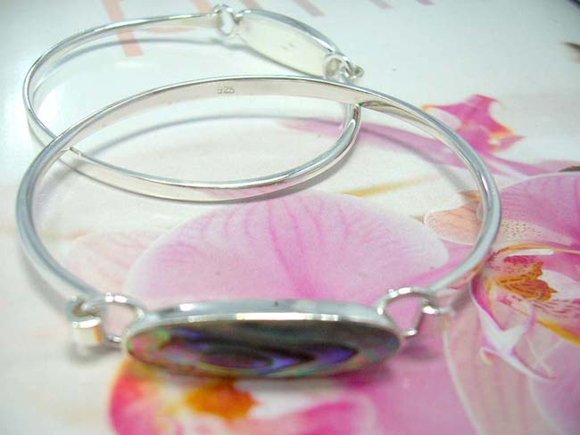 Online gift store supplier, Opalescent gemstone inlaid in solid 925. sterling silver bangle bracelet