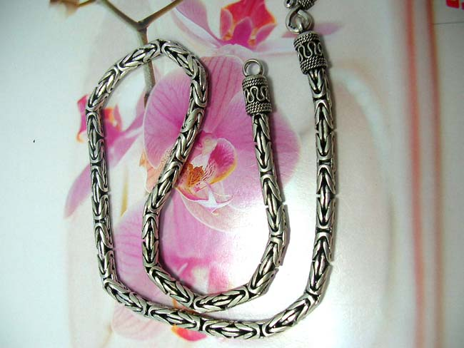 Handmade bali jewelry wholesale gallery, Hot style coil and bead designed ends on contemporary chain necklace, made from 925 sterling silver
