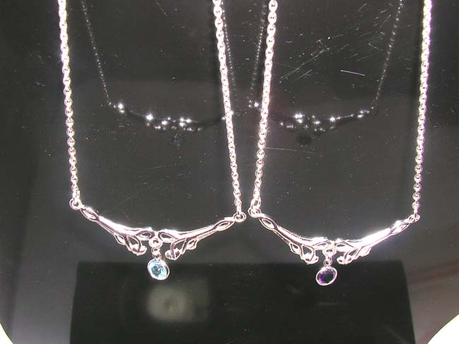 Fantasy jewelry supply importer, Elegant evening wear sterling silver necklace with cz crystal gems