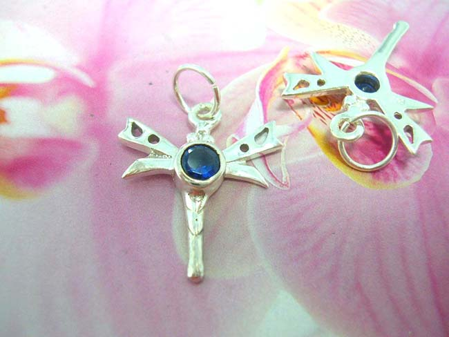 Rhinestone jewelry factory collection, Spring dragonfly designed pendant with sapphire gemstone in center, made from 925. sterling silver