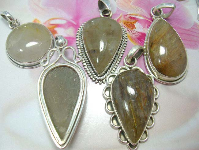 Birthday gift wear manufacturing importer, Unique 925. sterling silver precious gemstone set in vintage style pendant