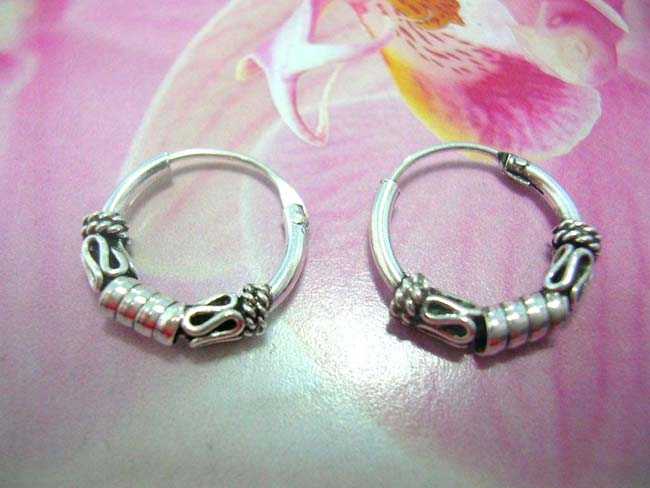 Shop wholesale jewelry, TRendy sterling silver hoop earrings with thick coil design between snaky curve and beaded curls