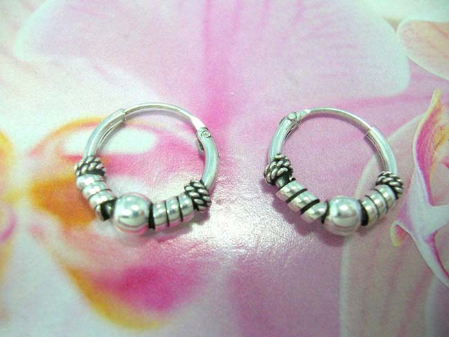 Export distribution collection, Bali artist designed sterling silver hoop earrings with ball bead, beaded coil and wrapped band decor