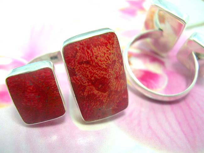 Jewelry catalog distribution store, TRendy coral gem set in square framed, 925. sterling silver ring