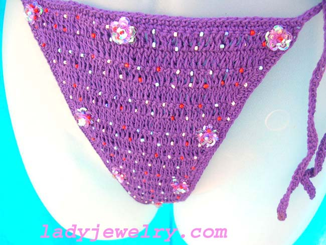 Jewelry supply store, handcrafted exotix fashions. Hot purple balinese bikini in embroidered design with stylish sequin flowers