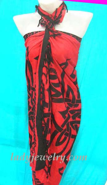 Designer wear bali clothing supply shop. Beautiful red and black batik wrap around with Celtic artisan print