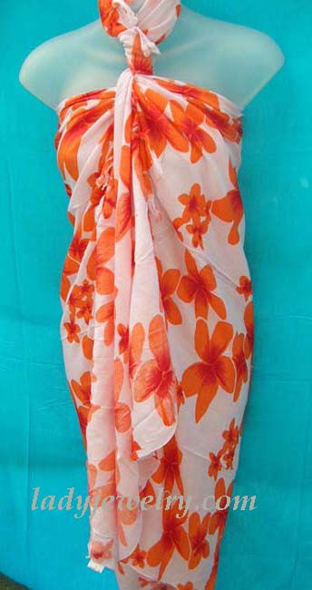 Exclusive fashion supply outlet. Caribbean style sarong with orange flower print on white background