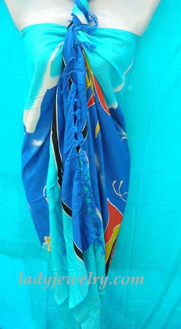 Abstract ocean life designed bali bali beach shawl. Indonesia apparel online gift wear shop