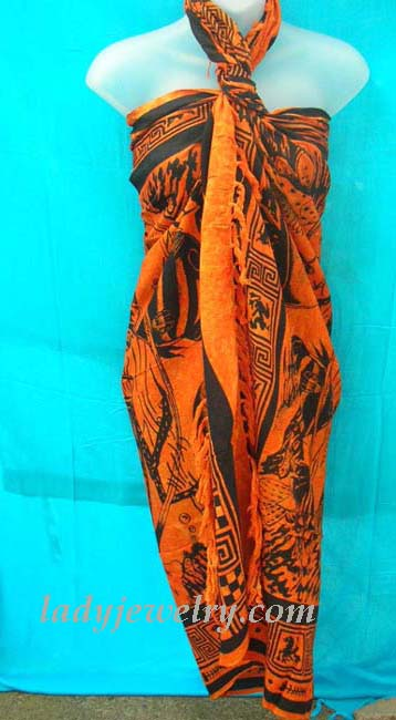 Beach swim wear gift shopping. Urban summer wrap skirt in orange and black with hip fashion print