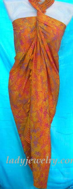 Swim suit supply accessory gallery. Orange exotic fashion dress wrap with dragonfly theme