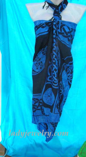 Royal blue and black celtic knot art pattern on black beach bikini shawl. Sarong skirt accessories express exchange
