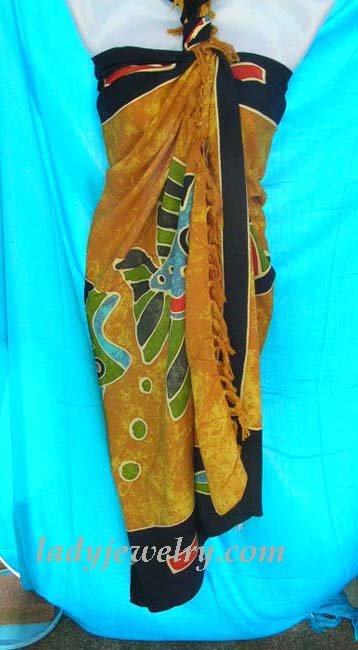 Quality spring accessory outlet shop. Under sea garden theme batik summer wrap shawl with black border and yellow coloring