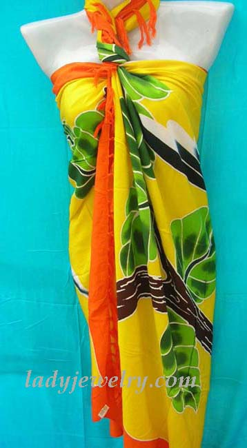 Indonesia exotic accessory express dealer. Forest lovers print designed batik sarong scarf in yellow, orange and green