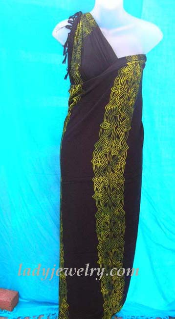 Fashion clothing online exchange gallery. Exotic yellow celtic knot band on trendy black ladies sarong